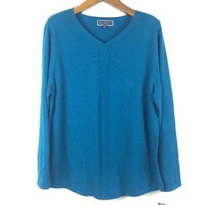 Karen Scott Small Teal VNeck Pullover Sweater 4Z48